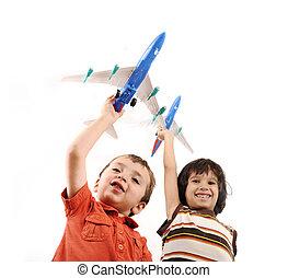 ongeveer, idee, twee jongens, het reizen, kleine wereld, airplains, handen