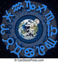 ongeveer, maan, planeet, 2, tekens & borden, aarde, zodiac