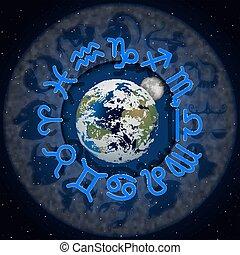 ongeveer, maan, planeet, 3, tekens & borden, aarde, zodiac