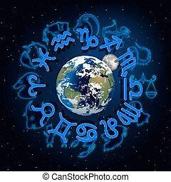 ongeveer, maan, planeet, tekens & borden, aarde, zodiac