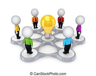 ongeveer, mensen, idee, symbool., kleine, 3d