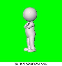 ongeveer, mensen, scherm, -, hand, borst, groene, 3d