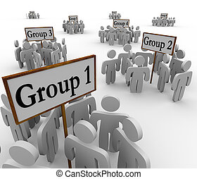 ongeveer, mensen, verzamelde, groepen, tekens & borden,...