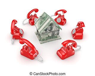 ongeveer, ouderwetse , house., telefoons, kleine, rood, 3d