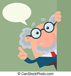 ongeveer, professor, karakter, of, het kijken, wetenschapper, toespraak, hoek, bel, spotprent