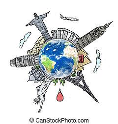 ongeveer, reizen, whiteboard, wereld, droom, tekening