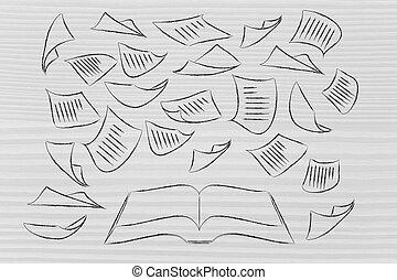 ongeveer, vliegen, boek, klee, opleiding, pagina's