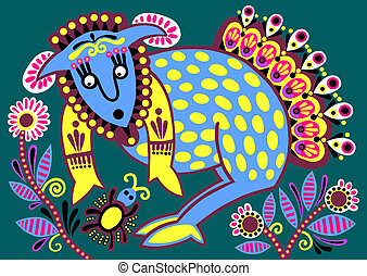 ongewoon, oekraïener, van een stam, illustratie, ethnische , schilderij, dier, folk-music