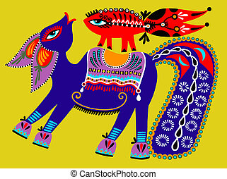 ongewoon, oekraïener, van een stam, illustratie, ethnische , schilderij, folk-music, paarde