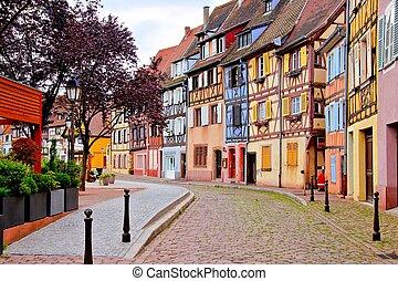 ongewoon, stad, kleurrijke, alsatian, frankrijk, huisen, colmar
