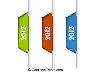 onglets, étiquettes, /, vecteur, 2012
