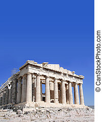 Ongoing restoration work of the Parthenon, Acropolis, Athens. Against blue sky with room for text