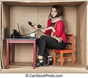 onhandig, kantoor, werkende , secretaresse
