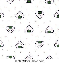 Onigiri rice ball japan seamless vector pattern.