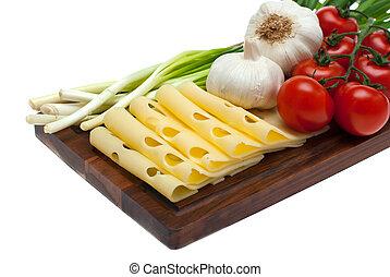 onion., alho, queijo