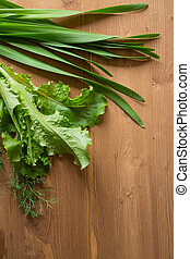 Onion Allium nutans and salad on wooden background - Onion...