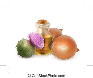Onion and burdock, folk medicine isolated on white background