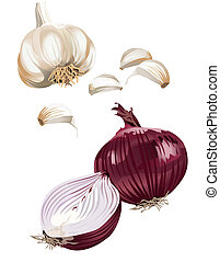 Onion and garlic - Vegetable icons on white background