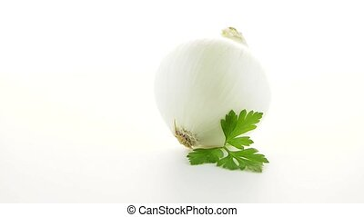 Onion and parsley isolated on white background.