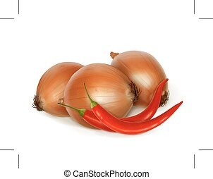 Onion and red peppers, folk medicine illustration, isolated on white background