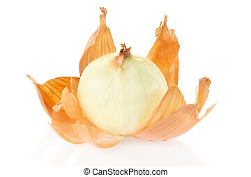 Onion and skin on white - Onion peeled isolated on white ...