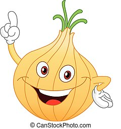Cartoon onion pointing with his finger