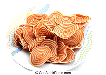 Onion crackers isolated on white background