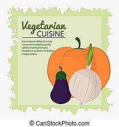 onion eggplant pumpkin vegetarian cuisine poster green background