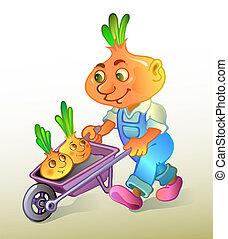 Onion farmer plants a harvest. Vector illustration
