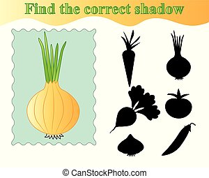 Onion. Find the correct shadow, educational game for kids. Vector illustration.
