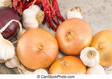 Onion garlic and red pepper