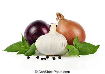 Onion, garlic, pepper
