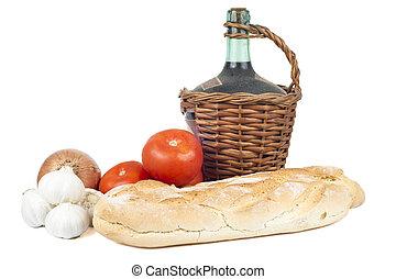 onion., garlics, bread, トマト, デカンター, 新たに, 古い, 赤ワイン