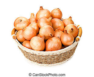 Onion in the basket isolated on white background