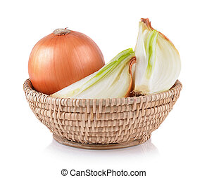 onion in the basket on white background