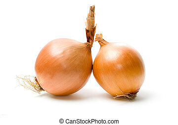 Two onions isolated on white background.