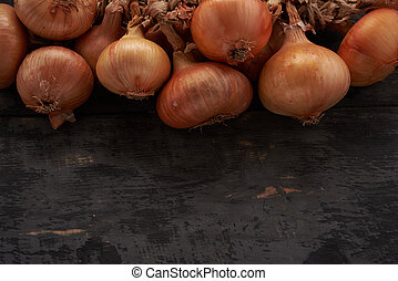 onion on a wooden table