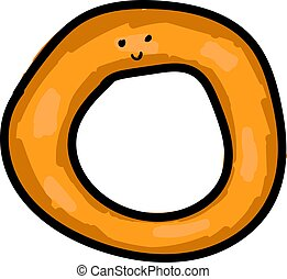 Onion ring with eyes, illustration, vector on white background.