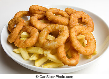 Onion Rings and French Fries - A bowl of onion rings and...