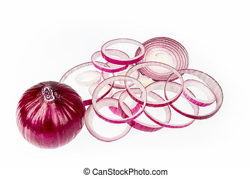 onion rings and purple onion isolated on white background