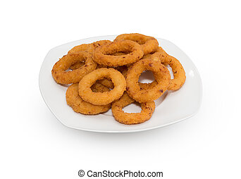 Onion Rings - Entire plate of onion rings over white...