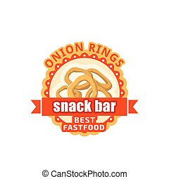 Onion rings fast food cafe bistro vector icon - Fast food...