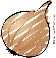 Onion - Sketch of an onion. Hand-drawn lineart look ...
