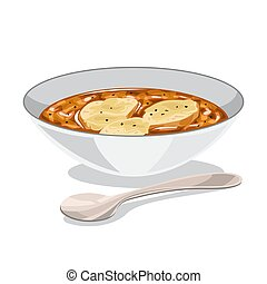 Onion soup in a bowl. Delicious dinner at home.