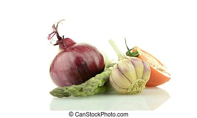 Onion, tomato and garlic still life