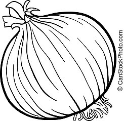 onion vegetable cartoon for coloring book