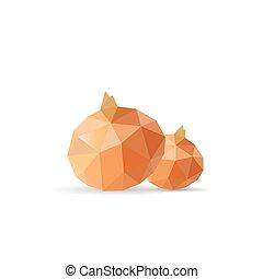 onion., verdura, -, illustrazione, polygonal, vettore