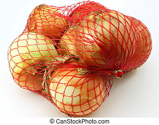 Onions, 3 pound bag on white background