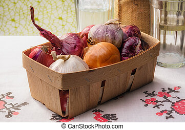 Onions and Garlic in a Crate