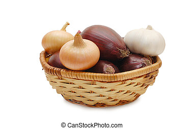Onions and garlic in a wattled basket